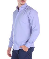Lilac cotton blend button-down shirt
