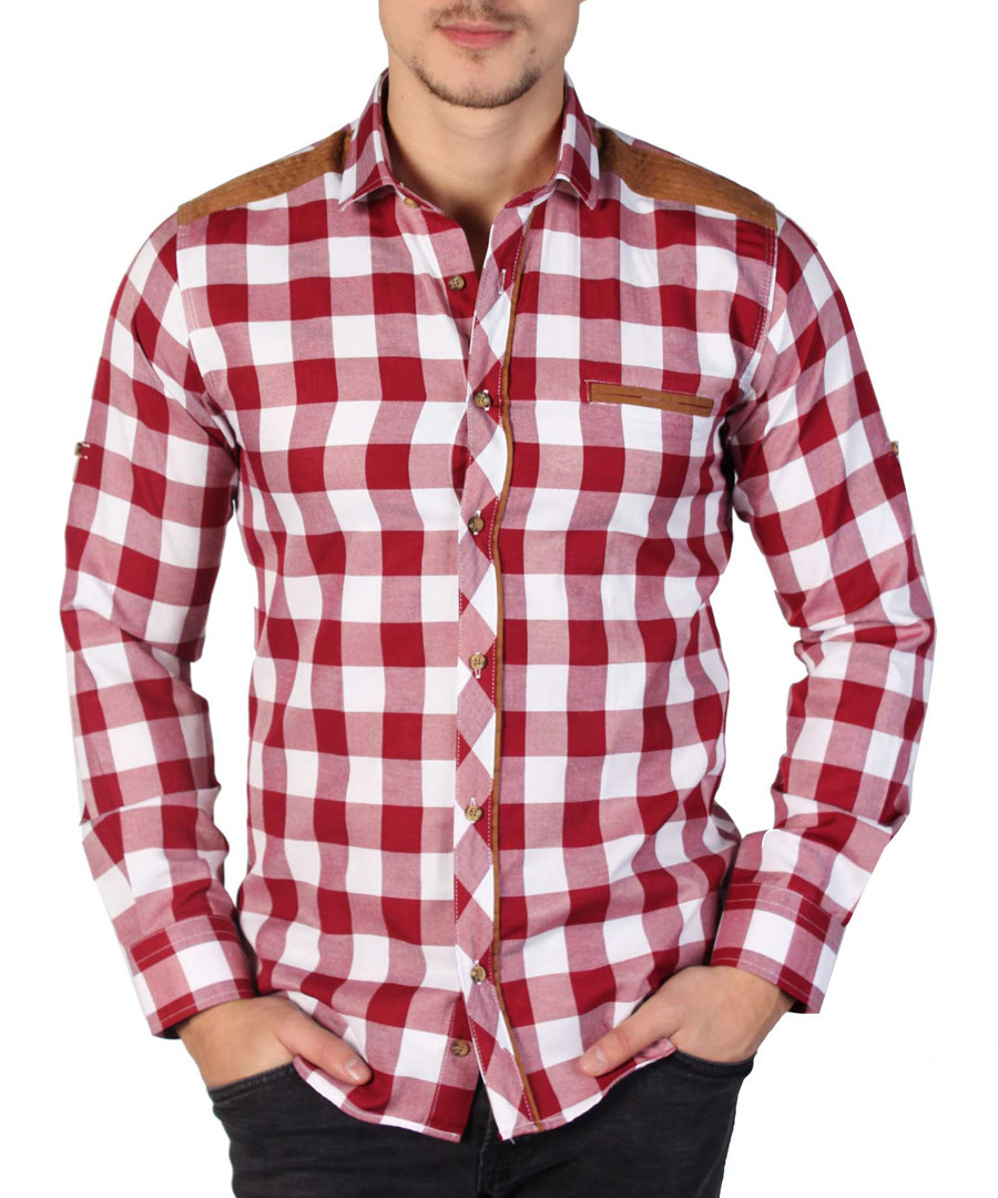 Red & white checked button-down shirt Sale - Brango