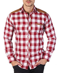 Red & white checked button-down shirt