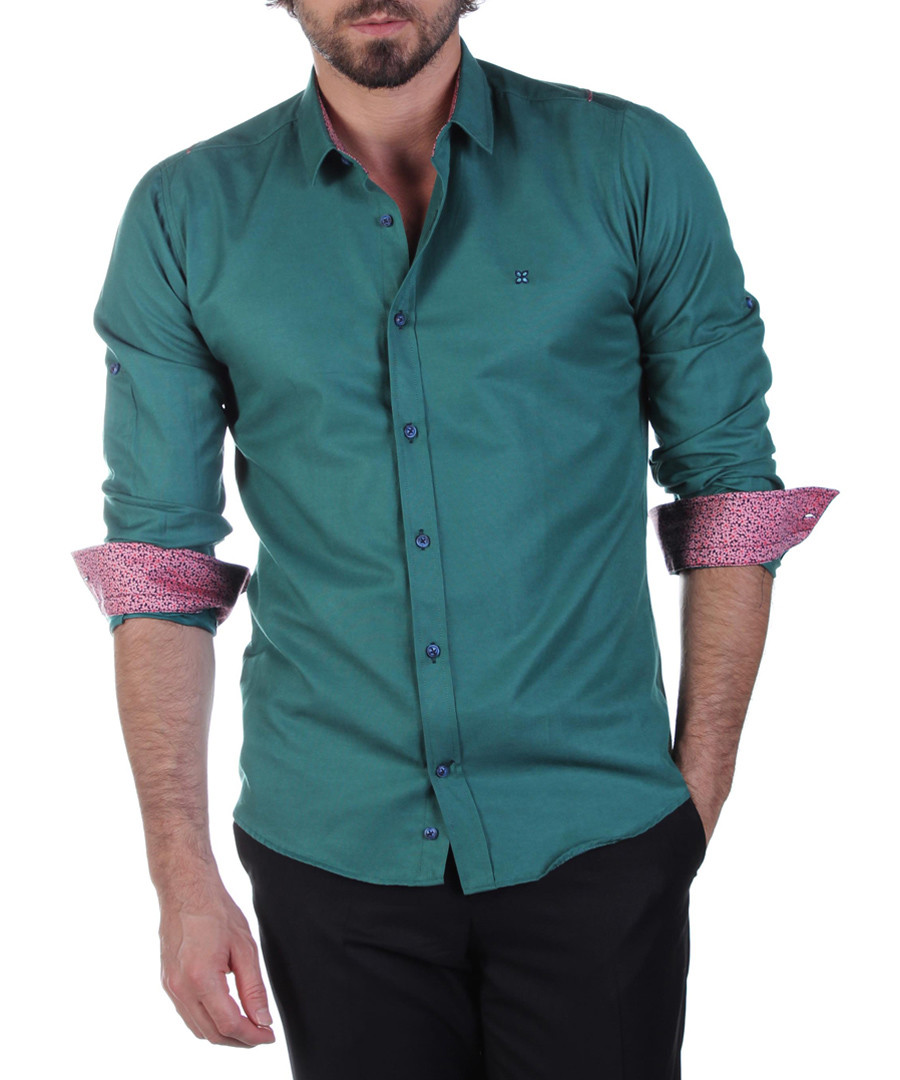 Green cotton blend contrast shirt Sale - Brango
