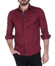 Bordeaux cotton blend button-down shirt