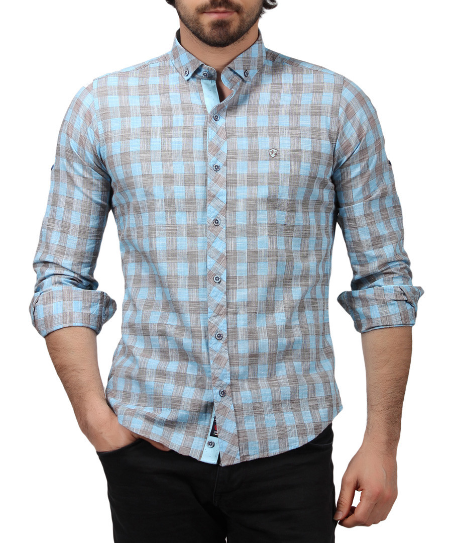 Turquoise pure cotton checked shirt Sale - Brango