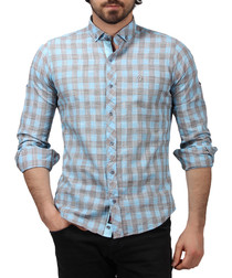 Turquoise pure cotton checked shirt