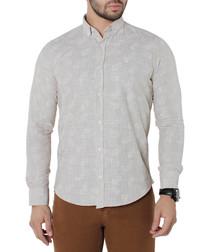 Cream pure cotton print shirt