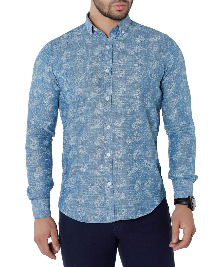 Turquoise pure cotton print shirt Sale - Brango