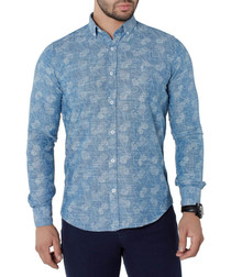 Turquoise pure cotton print shirt