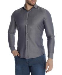Black cotton blend button-down shirt