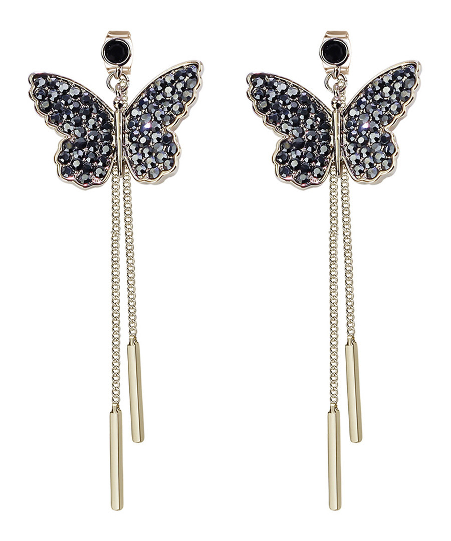 Gold-tone & crystal butterfly earrings Sale - caromay