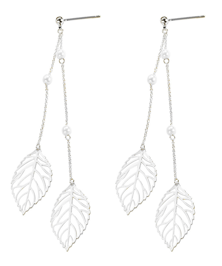 18ct white gold-plated leaf earrings Sale - caromay