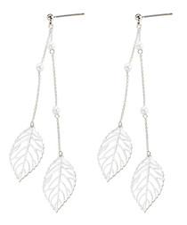 18ct white gold-plated leaf earrings