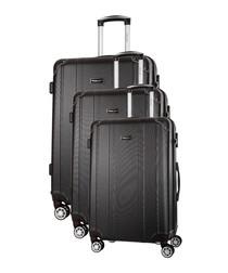 3pc Bazzano black spinner suitcase set