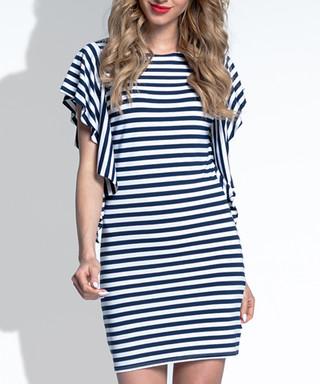 63ab5b9499d Dark blue stripe waterfall sleeve dress Sale - Fimfi Sale