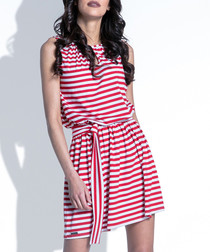 Red cotton blend stripe mini dress