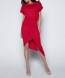 Red cotton blend asymmetrical dress