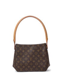 Looping brown canvas shoulder bag