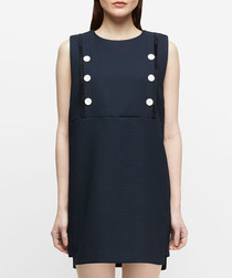 Hebe navy button shift sleeveless dress