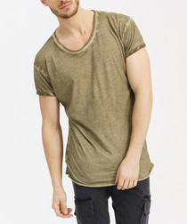 Khaki cotton worn-effect T-shirt