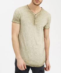 Khaki cotton button neck T-shirt