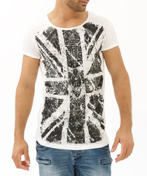 White pure cotton distressed T-shirt