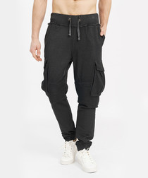 Black cotton distressed joggers