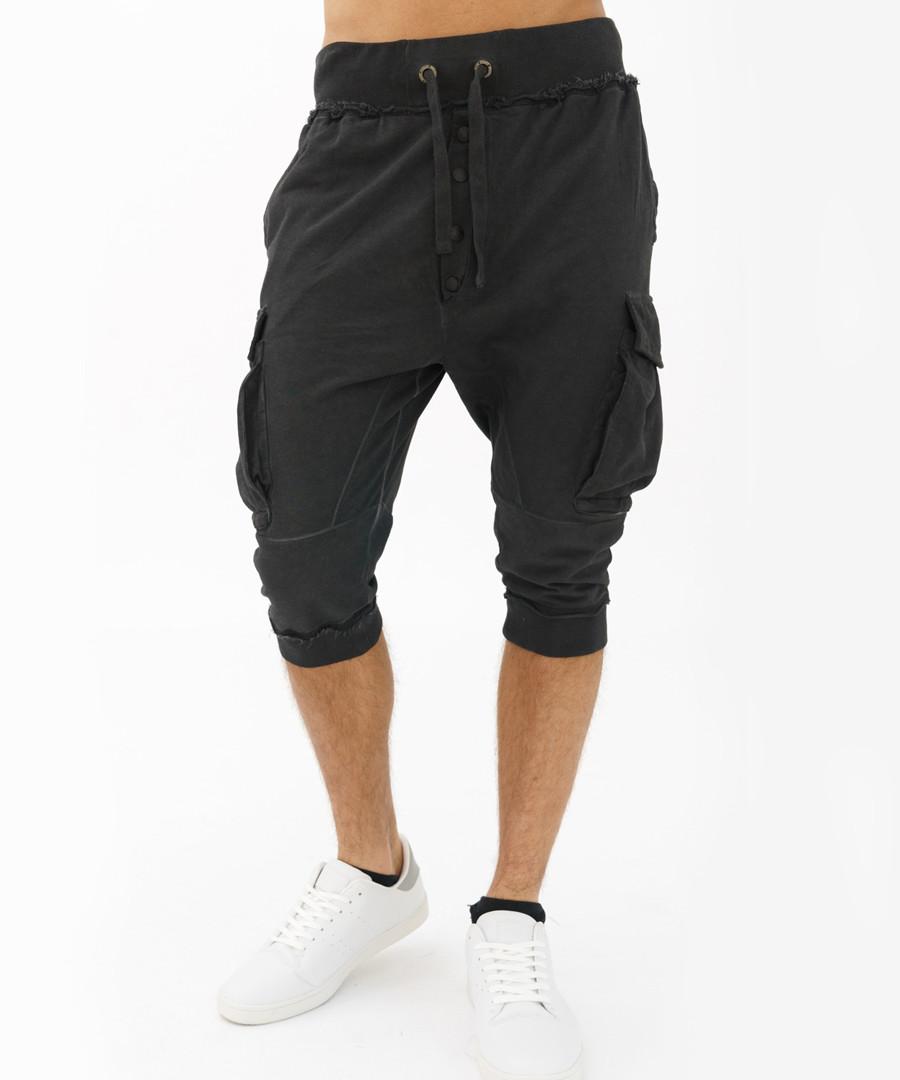 Black cotton below-the-knee joggers Sale - true prodigy