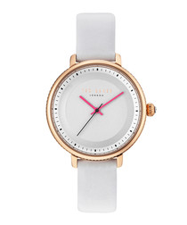 Isla white leather & gold-tone watch