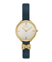 Elana navy leather & gold-tone watch