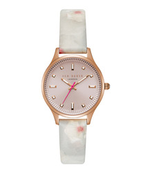 Zoe rose print leather strap watch