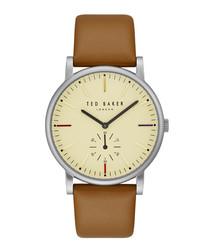 Nolan brown leather strap steel watch