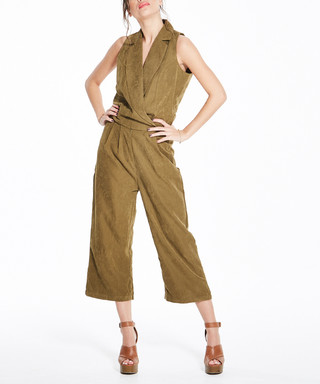 981dc0e46e61 Khaki suede-effect sleeveless jumpsuit Sale - Madam Rage Sale