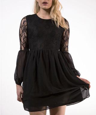6660f4a8f8f6 Black floral lace overlay dress Sale - Madam Rage Sale