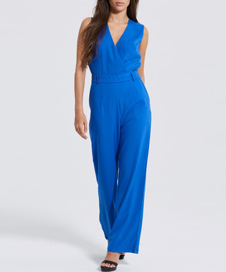4d483394982a Blue sleeveless V-neck jumpsuit Sale - Madam Rage Sale