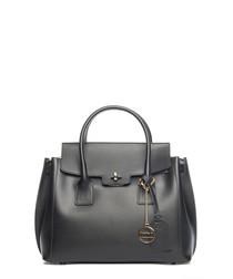 Black leather fold-over grab bag