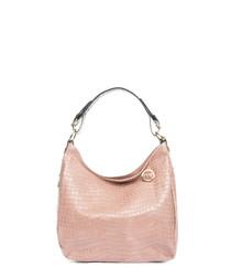 Pink leather moc-croc shoulder bag