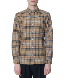Camel & black pure cotton check shirt