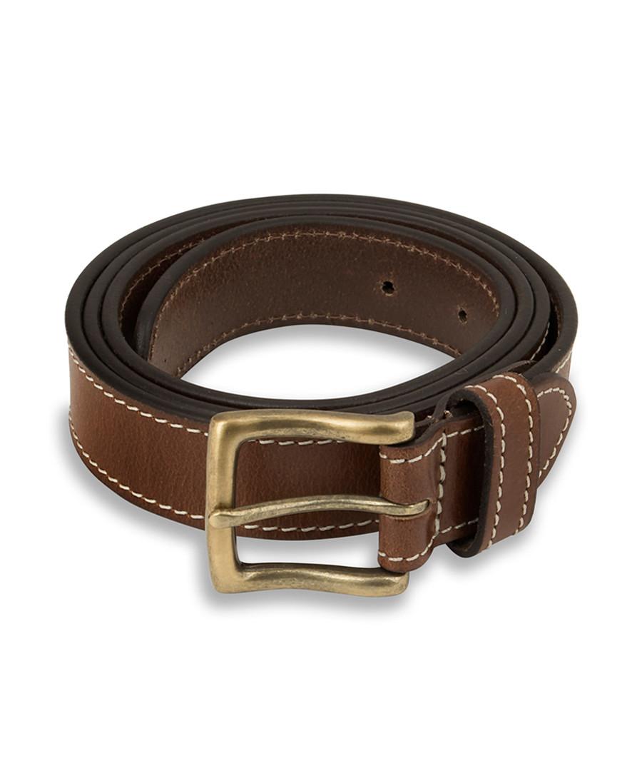 Men's Tan leather stitched belt Sale - woodland leather