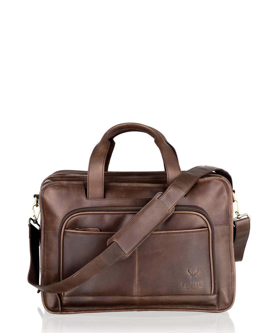 Brown leather messenger bag Sale - woodland leather