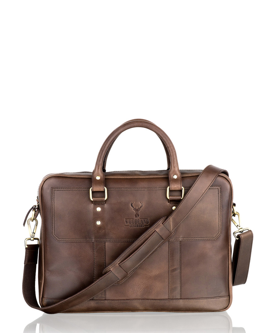Brown leather laptop briefcase Sale - woodland leather