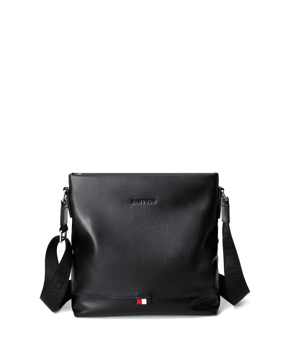 Black leather zip-top crossbody bag Sale - hautton