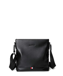 Black leather zip-top crossbody bag
