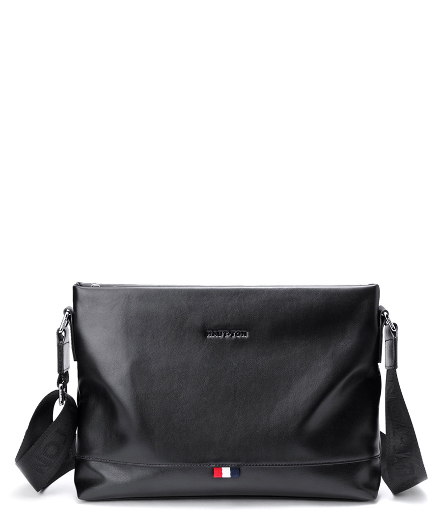 Black leather zip-top crossbody bag Sale - hautton