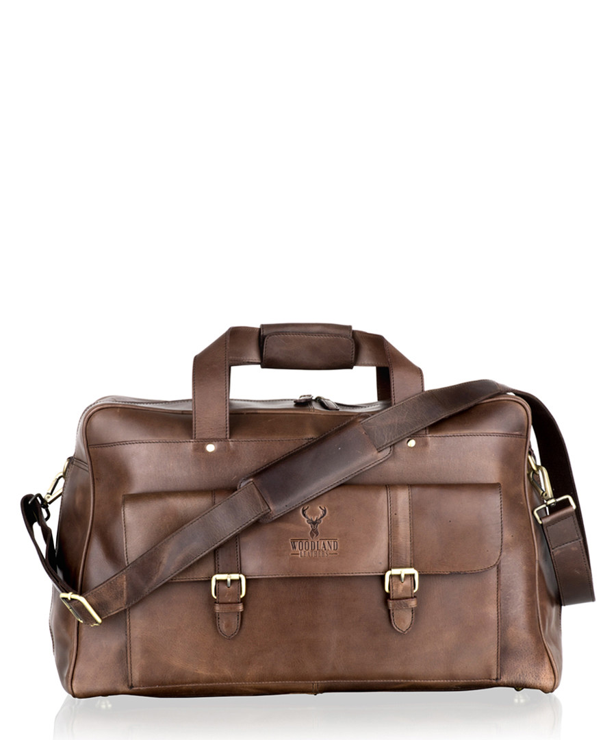 Brown leather weekend bag Sale - woodland leather