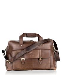 Brown leather weekend bag