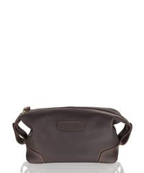 Black leather zip-top wash bag