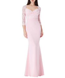 Pink floral lace 3/4 sleeve maxi dress