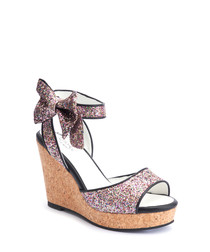 Ketty multi-coloured glitter wedges