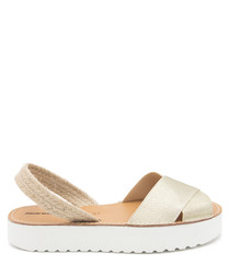 Platinum leather flatform sandals