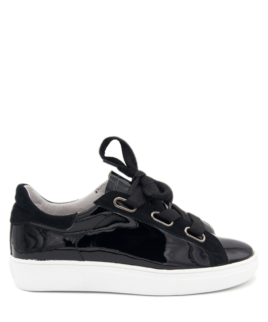 Black leather glossy lace-up sneakers Sale - MARIA BARCELO