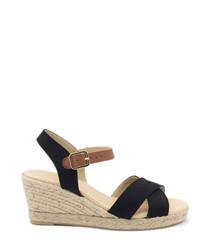 Black suede crossover wedge sandals