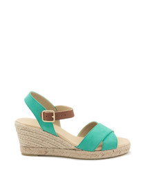 Mint suede crossover wedge sandals